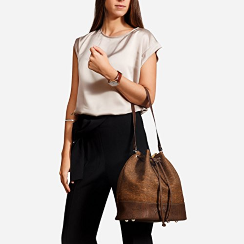 Leather Cork Bag Non Crossbody Bucket Zebra Women Vegan Shoulder Handbag Corkor for Tree Opqwvv8