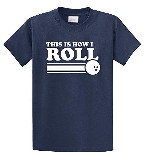 Comical Shirt Men's This is How I Roll Funny Bowling Shirt Navy (Mens Bowling Shirt)