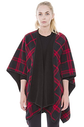 BYOS Women Winter Stylish Reversible Printed Fleece Open Front Poncho Ruana Wrap Travel Blanket (Red Plaid)