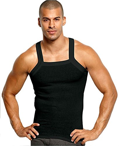 John Son Super Heavy Weight Square Cut Tank Top - 3 Pack (1XL, Black)