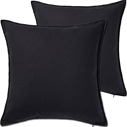 """2 Pack Solid Black Decorative Throw Cushion Pillow Cover Cushion Sleeve for  20""""x 20"""" Insert , 100 Percent Cotton"""