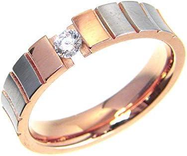 ピンクゴールド & マットシルバー コンビ 一粒 ダイヤモンドCz お洒落デザインリング Pink Gold Silver サージカルステンレス316L ユニセックス ペア 指輪 (17号)