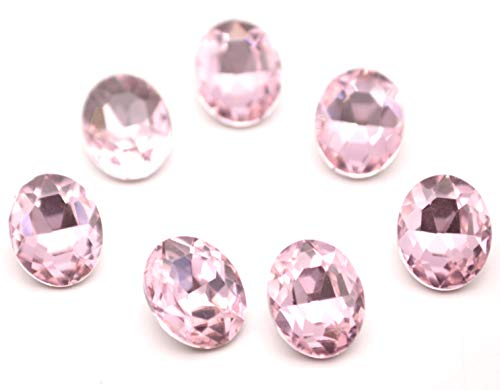 Catotrem Oval Rhinestone Glass Faceted Round Diamond Silver Pointback Beads for Charm Jewelry 8X10mm 60pcs(Pink)