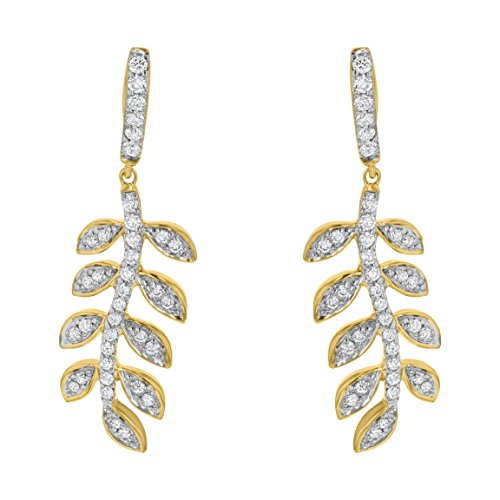 - Olivia Paris 14k Yellow Gold Women's Diamond Leaf Drop Earrings (1/2 cttw, I1 ClarIty, H-I Color) (yellow-gold)