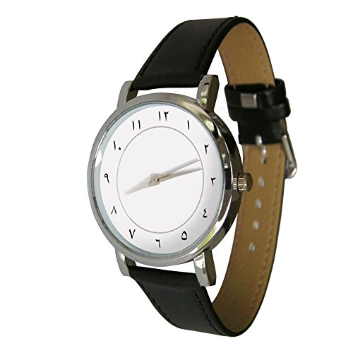 Arabic Numbers Watch. Men's Quartz Watch with Dial Analogue Display and Genuine Leather Strap