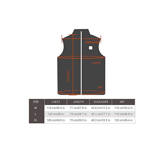 41lJJPZTwyL Material de seguridad de alta calidad: este chaleco calefactable está hecho de una capa de poliéster ligero y resistente al viento, que es impermeable y a prueba de viento. La capa interior está hecha de algodón súper ligero, que es transpirable, seguro y fácil de limpiar. Se puede lavar a máquina y a mano (¡recuerde desconectar la fuente de alimentación y asegúrese de que esté seca antes de usarla!) Calor y comodidad: nuestro chaleco calefactable utiliza tres elementos calefactores calculados a ambos lados del cuello y la espalda para generar calor científicamente. Puede sustituir a la mayoría de las ropas voluminosas y aliviar los problemas que no se pueden ignorar en el frío, como las molestias en el cuello, los hombros, la nuca y la columna lumbar. Alimentación USB universal: este chaleco térmico está alimentado por una interfaz USB universal de 5V / 2.1a, que es eficiente y portátil. Puede ser compatible con la mayoría de las fuentes de energía móviles. Es más seguro utilizar una fuente de alimentación de bajo voltaje. Con el diseño de bajo consumo de energía , puede ahorrar energía y dinero.