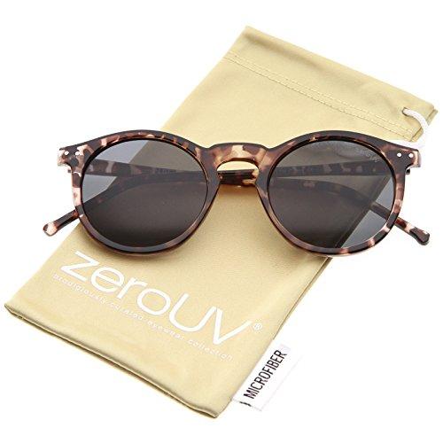 Tortoise Horn - Retro Horn Rimmed Keyhole Nose Bridge P3 Round Sunglasses 49mm (Shiny Brown-Tortoise/Smoke)