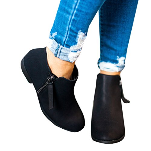 Ofenbuy Stacked Pointed Heel Booties Boots Toe Side Women's Ankle Faux Low Leather Zipper Black BBgTA0rw