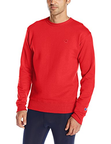 Mens Crew Red Logo Sweatshirt (Champion Men's Powerblend Pullover Sweatshirt, Team Red Scarlet, Small)