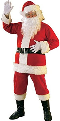Rubie's Bright Red Flannel Santa Suit With Gloves, Red/White, -