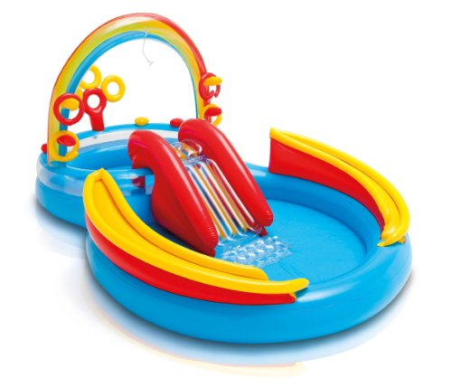 Intex Inflatable Kids Pool,Water Play Center w/Slide + Quick Fill Air Pump ()