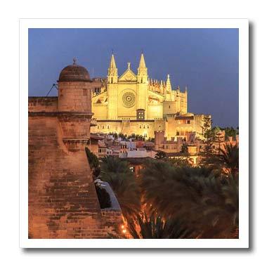 3dRose Danita Delimont - Spain - Spain, Mallorca, Palma de Mallorca. La Seu, Gothic Cathedral. - 10x10 Iron on Heat Transfer for White Material - Three Mallorca Light