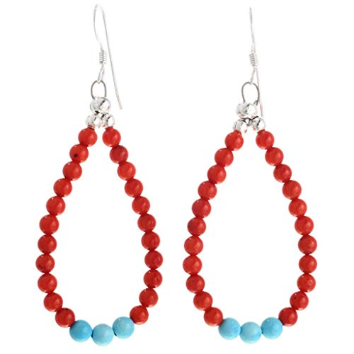 Coral Blue Turquoise Navajo Earrings Beaded Loops French Hooks 1297