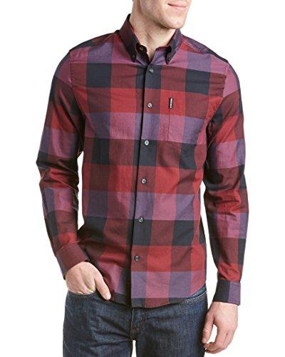 ben-sherman-mens-long-sleeve-textured-oversized-gingham-button-down-shirt-ruby-red-medium