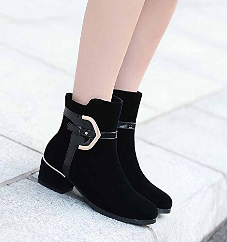 CHFSO Comfortable Zipper Ankle Black Buckle Winter Womens Mid Suede Solid Boots Heel Chunky Waterproof Martin 55WFZrqv