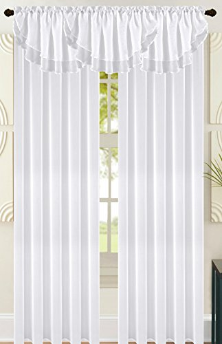 All American Collection New Solid Double Layer Sheer Waterfall Valance