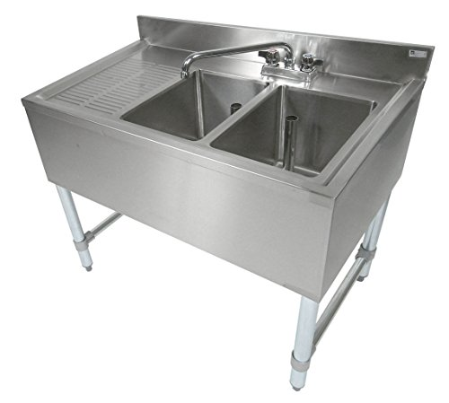 (John Boos EUB2S36-1LD Stainless Steel Bar Sink, 2 Compartments, 36