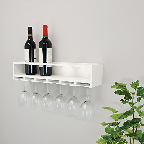 Claret 22 in. x 5 in. White Wine Bottle and Glass Holder Wall Shelf