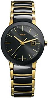 Rado Centrix Black Dial Yellow Gold PVD Black Ceramic Ladies Watch R30930152 by Rado