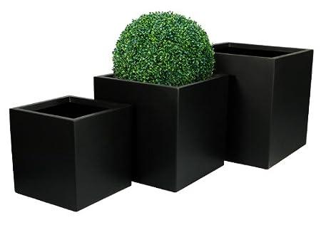 Fibreglass Cube Planter - Matt Black - Small 40cm Primrose