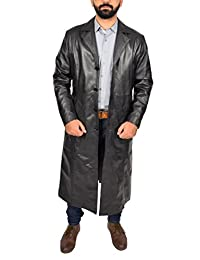 Mens Full Length Leather Coat Classic Fit Single Breasted Overcoat Freddie Black