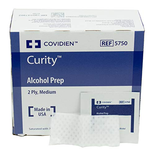 - COVIDIEN Curity Alcohol Preps Wipes, Sterile, 2-Ply, Medium, Pack of 200