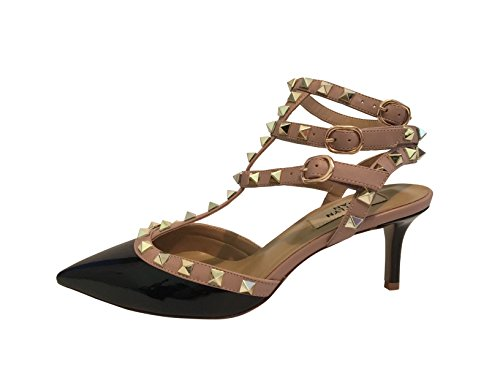 Kaitlyn Pan RockStud Slingback Kitten Heel Leather Pumps (8.5US/ 39EU/ 40CN, Black Patent/Nude Straps/Gold Studs) by Kaitlyn Pan