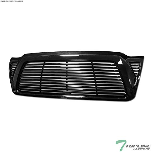 Topline Autopart Black Horizontal Billet Style Front Hood Bumper Grill Grille Cover 05-11 Tacoma ()