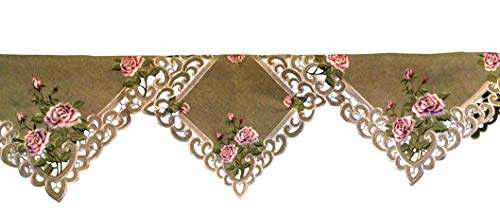 DoilyBoutique Fireplace Mantel Scarf a Pink Rose Sage Green Burlap Linen Fabric Handmade, Size 84 x 27 inches by DoilyBoutique