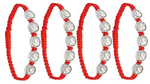 RufnTop Lucky Catholic St. Saint Benedict Evil Protection Red Cord Adjustable Bracelet(Saint Virgin Mary Pack of 4 PCS)