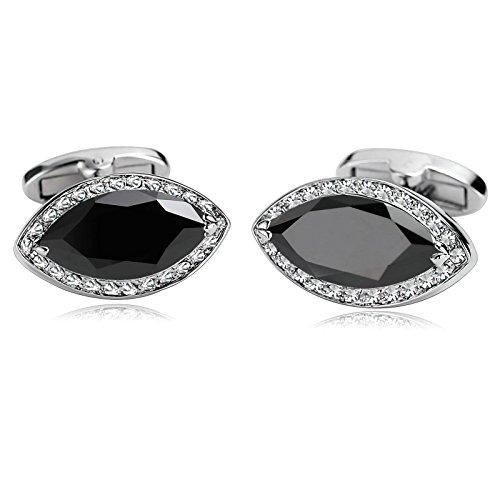 (KnSam Stainless Steel Cufflinks for Mens Oval Leaf Crystal Pierced Black)