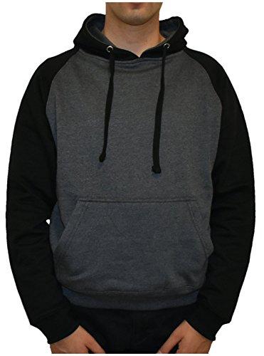 U.S. Apparel Men's 2-Tone Heavyweight Fleece Pullover Charcoal Black (Fleece Pullover Charcoal)