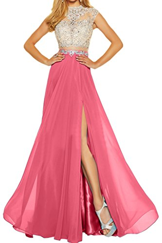 Chiffon Zweiteil Steine Elegant Rosa amp;Tuell A Linie Damen Partykleid Abendkleid Ivydressing Festkleid Promkleid qUXtwx