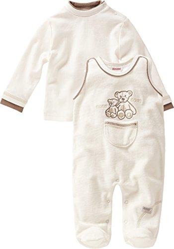 Schnizler Unisex Baby Strampler Set Nicki, Mama und Baby Bär, 2 - tlg. mit Langarmshirt, Oeko - Tex Standard 100, Gr. 68, Beige (natur 2)