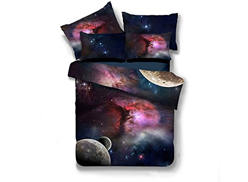 3 Piece Set Headboard (Beddinginn Attractive Colorful Galaxy Print Duvet Cover Sets 100% Polyester 4 Pieces 3d Bedding Sets (King))