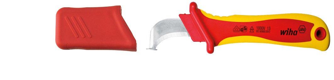 200 mm 36053 Wiha Abmantelungsmesser Hakenklinge mit Gleitschuh f/ür Rundkabel in Blister