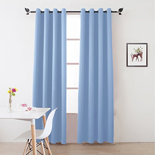 Blackout Curtains /Room Darkening/Light Blocking/Thermal Insulated  Draperies With Solid Grommet For Bedroom/Living Room Window Treatments  Cornflower Blue 2 ...