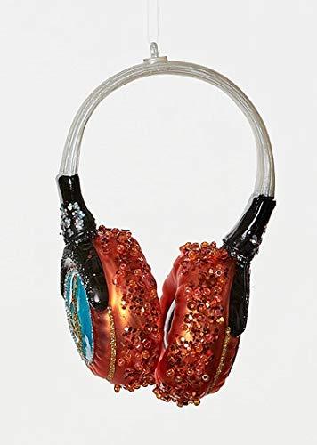 Neon Earbud Headphones - On Holiday Glass Neon Orange Headphone Christmas Tree Ornament