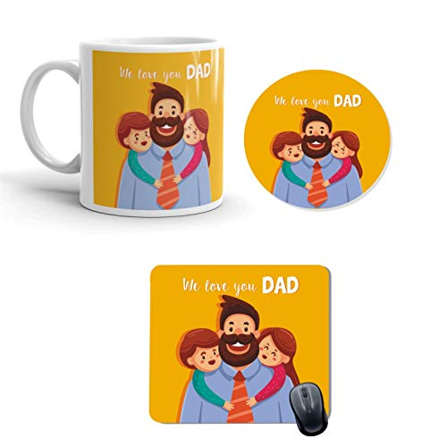 Family Shoping Ceramic Father's Day We Love You Dad Printed Coffee Mug, Coaster and Mousepad Combo Hamper for Dads  Yellow