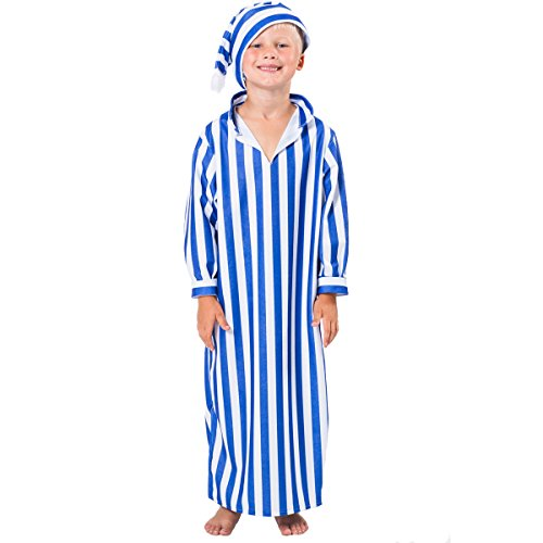 Charlie Crow Night Gown and Cap Costume for Kids 5-7 Years (Blue & White)