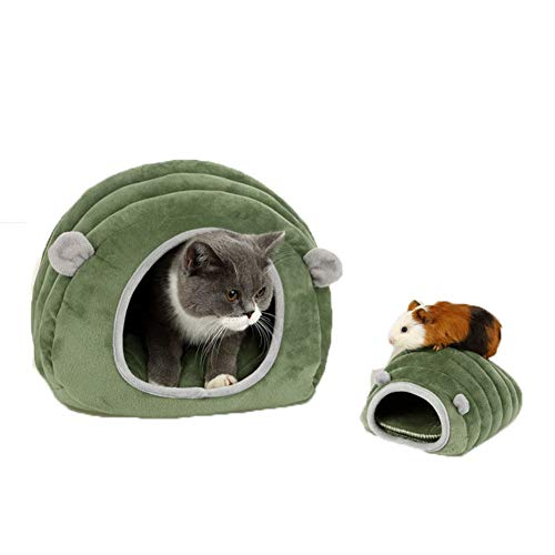 Delifur Warm Small Animals Bed Dutch Pig Hamster Chinchilla Habitat Mini House Green Caterpillar Nest for Small Cats Dogs (XS)