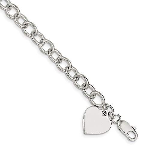 - 925 Sterling Silver Heart Charm Link Bracelet 8.25 Inch/love Fine Jewelry Gifts For Women For Her
