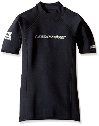 (NeoSport Wetsuits Men's XSPAN Short Sleeve Shirt, Black, Medium - Diving, Snorkeling & Wakeboarding)
