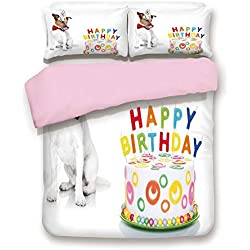 iPrint Pink Duvet Cover Set,Twin Size,Russel Dog Pet with Hat at a Party Celebration with Cake,Decorative 3 Piece Bedding Set with 2 Pillow Sham,Best Gift for Girls Women,Multicolor