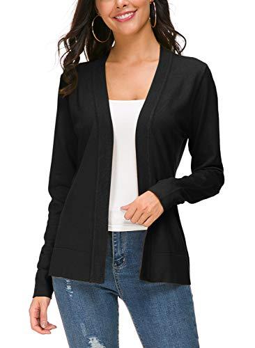 - Urban CoCo Women's Long Sleeve Open Front Knit Cardigan Sweater (XL, Black)
