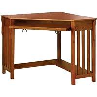 Furniture of America Athosia Mission Style Corner Computer Desk, Medium Oak Finish