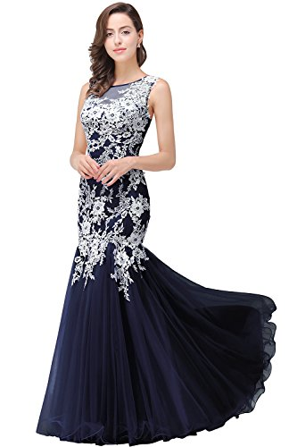 (Babyonlinedress Women Mermaid Long Gala Dresses for Special Occasion,Navy Blue,Size 8)