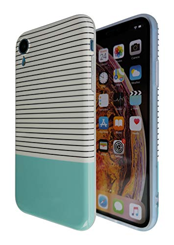 iPhone Xr Case Mint [Soft TPU Silicone], Black and White Stripes Blue Green Turquoise Print Design, [Impact Resistant] Protective Shockproof Drop Protection Flexible Hybrid Teal Cover - KITATA
