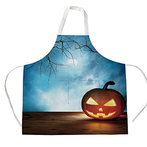 iPrint Cotton Linen Apron,Two Side Pocket,Halloween,Traditional Celebration Icon Pumpkin on Wooden Board Fantasy Midnight Sky Trees,Multicolor,for Cooking Baking Gardening]()