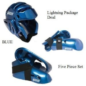Lightning Blue Karate Sparring Gear Package Deal - Child Large (Package Set Gear)